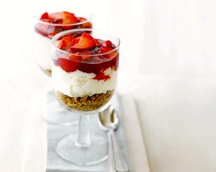 Aardbeien cheesecake, snel en vetarm